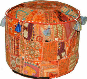 """22"""" Inch Handmade Round Pouf Cover Indian Cotton Patchwork Home Decorative Pouf"""