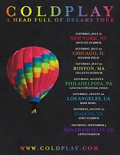"COLDPLAY ""A HEAD FULL OF DREAMS TOUR"" 2016 USA CONCERT POSTER - Alt Rock Music"