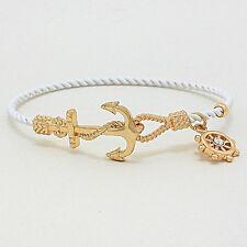 Anchor Bracelet 7COLORS Twisted Metal Bangle Hook Nautical Coastal SILVER GOLD