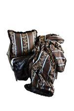 Luxurious Throw 100% Silk and Faux Fur Throw and Pillow Set, Beautiful Item