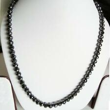 5mm Black Diamond Beads Necklace 28 Inches Certified  faceted