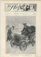 1902 Father Time Takes Of Hat To Sketch Girl Vintage Car