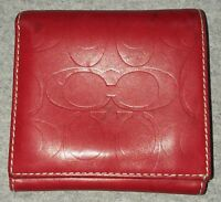 Authentic Women's COACH Signature Embossed Monogram Bifold Wallet Red Leather