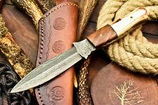 Custom Handmade Damascus Steel Blade Hunter Camping Full Tang Dagger Knife