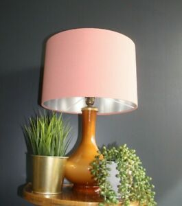 Lampshade, Soft Coral Cotton with Brushed Silver Lining