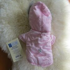 XXS Pink Bling Quilted Iridescent Dog Jacket Fur Trim Sequins Parka Winter NEW