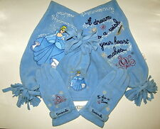 NWT Disney Store Princess CINDERELLA Fleece Enbroidered SCARF HAT GLOVES SET Sm