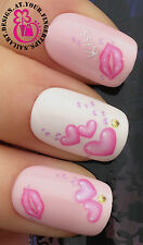 NAIL ART DECORATION WRAP WATER TRANSFERS DECALS STICKERS LIPS KISS & HEARTS #3