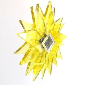 BRIGHT YELLOW SHINY RECYCLED GLASS MANDALA HANGING STAR MOBILE MIRRORED TWISTER