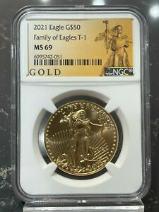 2021 $50 Gold American Eagle Type 1 NGC MS 69 (American Liberty Series Label)