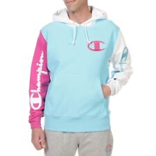 Champion Reverse Weave Colorblock Pullover Hoodie Men's Size Medium Pink Blue
