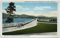 Postcard Catskill Mountains NY Big Tonche Overlook Ashokan Dam Car Swastika Back