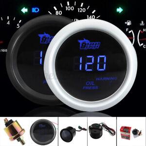2'' 52mm 120 PSI Digital Blue LED Oil Pressure Gauge W/ Sensor Auto Car Motor
