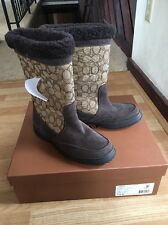 Coach Sherman Sig Suede Boots Chestnut Khaki Cold Weather New Size 7.5