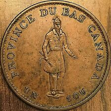 1837 LOWER CANADA HALF PENNY TOKEN - Bank of Montreal on Ribbon - Really nice!
