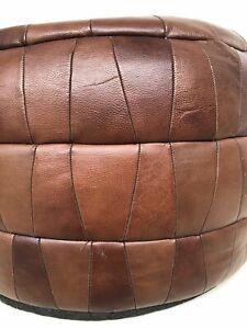 SALE !!!Vintage Leather Patchwork De Sede Style Pouf / ottoman