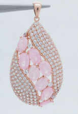 14K Rose Gold Silver/925 4.00ctw Oval Pink Quartz w/CZ Accents Dangle Pendant