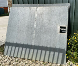 Pair of Solid Sheeted Metal Steel Security Gates - 1.75m Tall - 2.1m Wide Each