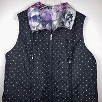 CJ Banks Reversible Zip Vest Quilted Womens 1X 16 18W Polka Dot Purple NWT