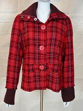 Free People Jacket Coat, 60% Wool 40% Viscose, Red Pink Maroon Plaid, Size M