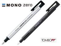 Tombow MONO Zero Round Eraser 2.3mm Diameter Choice of Black or Silver barrel