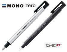 Tombow : MONO Zero Round Eraser 2.3mm Diameter Choice of Black or Silver barrel