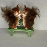 Vintage Squirrels On Green Bench Figurine FLAW BP Imports
