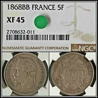 1868-BB Silver 5F France Napoleon 5 Francs NGC XF45 Vintage French Classic Coin