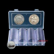 60Pcs Clear Round 41mm Coins Capsules Holder Display Collection Case Storage Box