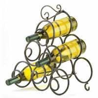 Table Top Wrought Iron SCROLLWORK WINE RACK Bar Accessory 6 Bottle Holder