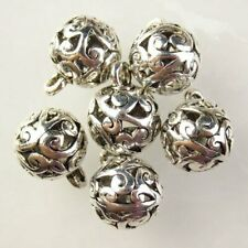 6Pcs Carved Tibetan silver Round Ball Pendant Bead 10mm L36827