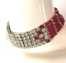 VINTAGE WILLIAM deLILLO RHINESTONE/ RED BEADS CHOKER/NECKLACE Signed