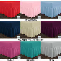 Percale Standard Extra Deep Valance Frilled Fitted Sheets in 14 Colours