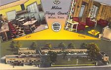 Milan Plaza Court Tennessee Roadside Milan Tn Vintage Linen Postcard ca 1940s