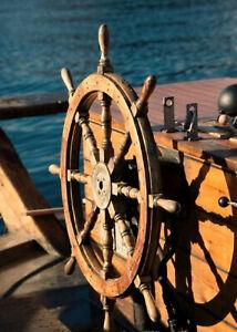 """Home decor Ship Wheel Wooden Steering Decor Wheel 36"""" Captain Wooden Wheel"""