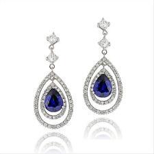 925 Silver Blue & White CZ Triple Teardrop Dangle Earrings