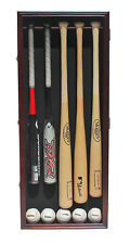 Pro UV 5 Baseball Bat Display Case Shadow Box Wall Cabinet, Mahogany B55VH-MAH