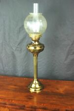 Antique Brass Duplex Oil Lamp Etched Glass Shade - FREE Shipping [PL4781]