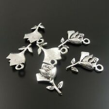 32738 Antique Silver Alloy Flower Shape Pendants Charms Jewelry Crafts 100pcs