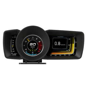 3.5'' Double Screen OBD2+GPS Smart Gauge HUD Head-Up LCD Speedometer Turbo RPM