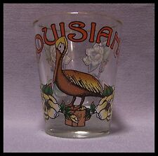 Shot Glass Louisiana State Bird Flower Pelican Magnolia New Orleans  Lake New 25