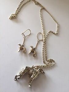 Sterling Silver greyhound dog Necklace Earrings Levriero Argento 925 Parure