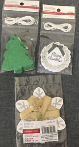 42 pc Recollections Christmas Gift Tags Merry Christmas Tree Wreath 3yd Ribbon