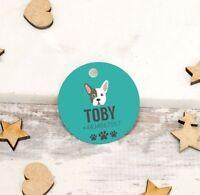 Personalised Pet ID Collar Tags Cat Dog 25mm Paw Print Custom Made