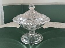 Vintage Clear Fostoria Colony Swirl Pedestal Candy Dish With Lid