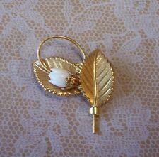 Finely Detailed Gold Tone Leaves White Flower Bud Brooch Pin
