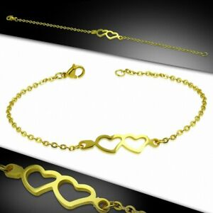 Bracelet Chain With Link Style Watch Stainless Steel Golden Double Heart Open