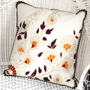 Cushion Cover, High Density Emboridery Multi Colour Patterns 100% Cotton Fabric