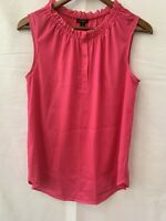 Ann Taylor Womens Size 4 Hot Pink Sleeveless Blouse Elastic Pleated Neckline