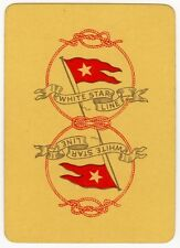 Playing Cards 1 Swap Card - Old Antique Wide WHITE STAR LINE Shipping Flag 3